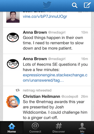 Screenshot of the Twitter app on a mobile