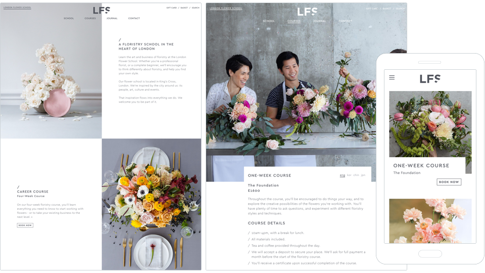 Image of screenshots of London Flower School website