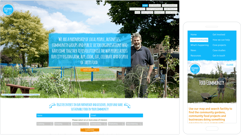 Image of screenshots of Sustainable Food City website